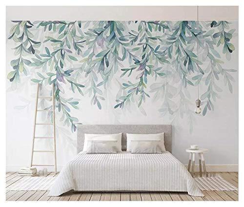 L7-box (LLWMN maßgeschneiderte moderne nordische Tapeten Wohnkultur minimalistische kleine frische grüne Blätter Blumen Aquarell-Stil Hintergrundbild L7-450cmx300cm)