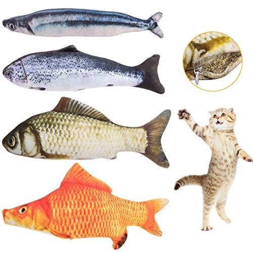 NUMAMA Katzenminze Fisch 3D Simulation Weicher Plüsch Fisch Form Katze Interaktives Spielzeug für Innen Kätzchen 4 Stück