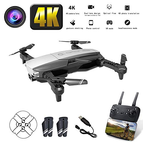 Szeoa 4K-Drohne, 120 ° elektrisch, 90 ° Weitwinkelverstellung, fixiertes Hochstreamer-Positionierungsflugzeug für Kinder und Erwachsene, FPV-Gesten, vierachsige Doppelkamera, Silber