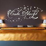 Wandtattoo Gute Nacht mit Blumen Ranken, Schmetterlingen und Sternen | Wandaufkleber Schlafzimmer Grün 061 108 x 48 cm
