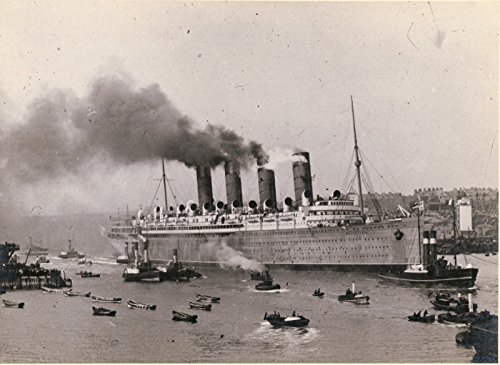 POSTER Mauretania QSPS passing Low Lights mouth of Tyne her maiden voyage wear Wall Art Print A3 replica