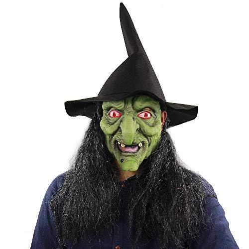 XIAMAZ Hexe Maske Mit Hut Haar Kostüm Grün Theaterqualität Make-Up Maske Beängstigend Halloween Maske Kostüm Beängstigend Clown - Beängstigend Kostüm Hüte