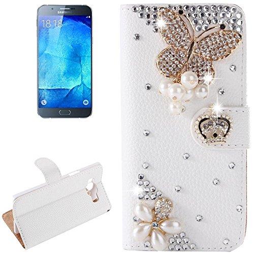 Schützen Sie Ihr Mobiltelefon Diamant verkrustete Muster Horizontale Flip Leder Tasche mit Halter & CardSlots für Samsung Galaxy A8 für Samsung Handy ( SKU : S-SCS-9006V )