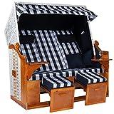 Möbelcreative Strandkorb Ostsee ROYAL XXL Volllieger - Extra Breit und fertig montiert - 150 cm in blau weiß kariert inklusive Schutzhülle, ideal für Garten und Terrasse