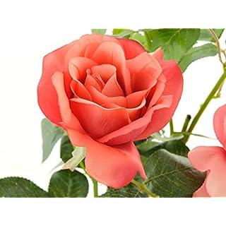 Aniba Design Kunstrose mit 2 Blüten und 1 Knospe rosa ABROS012