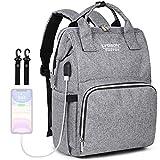 Baby Wickelrucksack Wickeltasche,Multifunktions Rucksack,stilvolle Reise Mutterschafts WickelRucksäcke mit USB-Ladeanschluss für Mama & Papa