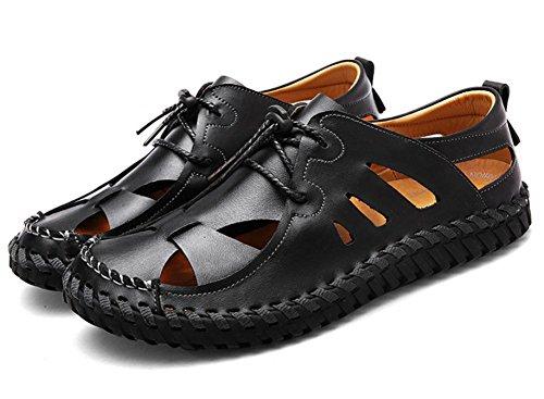 2017 nouvelles sandales en cuir chaussures de loisirs M sandales en cuir respirant glissement Black