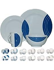 Vajilla de melamina picnic (16piezas para 4personas) Weiß / Blau Circel Rund
