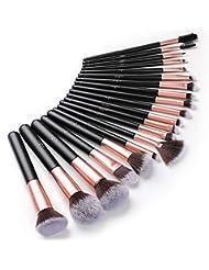 20 Pinceaux Maquillage Anjou Professionnels Set Pinceaux Premium avec Poils Synthétiques pour Makeup Cosmétiques, Inclus Pinceaux à Fond de teint, Blending, Blush, Eyeliner et Fard à Paupières