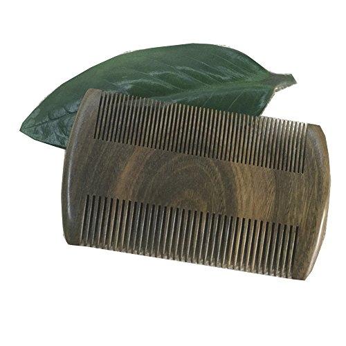 Grün Sandelholz natürliches Aroma Pocket Bart Kamm | antistatisch | handgefertigt Premium Kamm für Bart & Schnurrbart Fellpflege (Schnurrbart Horn Kamm)