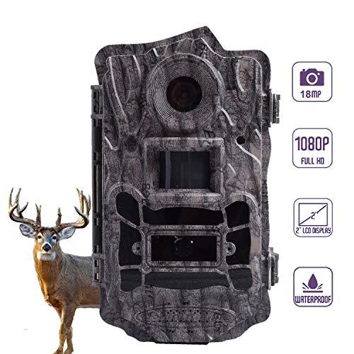 """BolyGuard Wildkamera 18MP 1080P Full HD Jagdkamera Low Glow Infrarot 30m Nachtsicht Bewegungsmelder Handy Überwachung 2"""" LCD IP65 Wasserdichte Nachtsichtkamera Wildtierkamera Fotofalle"""