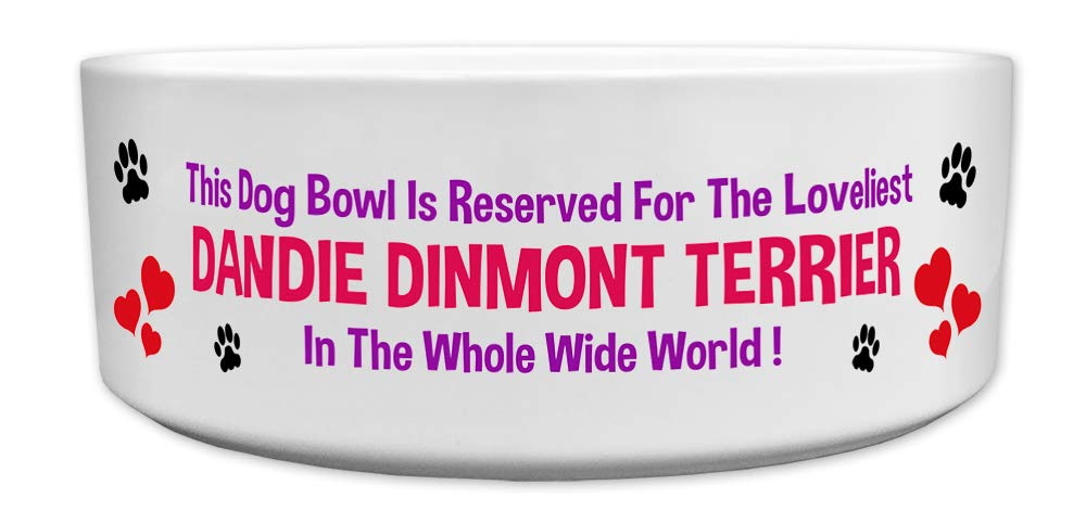 Fresh Publishing Ltd 'This Dog Bowl Is Reserved For The Loveliest Dandie Dinmont Terrier In The Whole Wide World', Dog Breed Theme, Ceramic Bowl, Size 176mm D x 72mm H approximately.