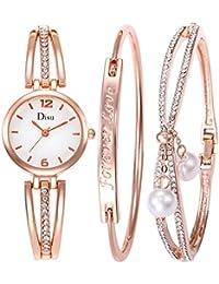 Luzoeo Parure de Montre Bracelet avec Boîte Cadeau Style Simple et Tendence  pr Cérémonie Soirée Mariage c56ac7ba419
