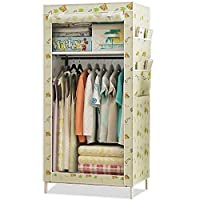 Dxtxx Single Wardrobe Fabric Cabinet, Clothes Hanger Storage Rack, Bedroom Assembly Wardrobe(Triple)