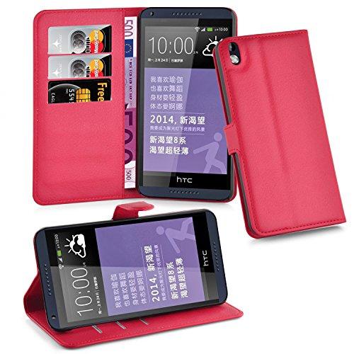 HTC Desire 816 Hülle in ROT von Cadorabo - Handyhülle mit Kartenfach und Standfunktion für HTC Desire 816 Case Cover Schutzhülle Etui Tasche Book Klapp Style in KARMIN ROT Htc Desire 816 Cover