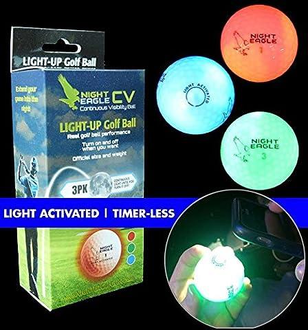 3 Golfbälle Bunt - Night Eagle Light-Up LED - Nachtgolf Crossgolf leuchten Rot Blau Grün Fun Sport Golf Geschenk