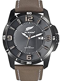 All Blacks - 680234 - Montre Homme - Quartz Analogique - Cadran Noir - Bracelet Cuir Marron