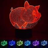BiuTeFang Lampe 3D illusion Animaux Lard lumière nuit 3D bouton visuel lumières LED cadeaux maison intelligente lampe de bureau