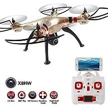LIDI RC X8HW (actualización de la popular Syma X8W) 2,4 6-Axis Gyro Wifi FPV con la cámara de HD RC Quadcopter Drone incluye una función efectiva de mantenimiento de altitud para volar muy fácil para los principiantes (Color: Oro)