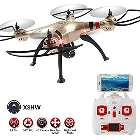 LiDiRC Syma X8HW (upgrade of the popular Syma X8W) 2.4GHz 6-Axis Gyro Wifi FPV With HD Camera RC Quadcopter Drone includes an Effective Altitude Hold Feature to Flying very Easy for Beginers