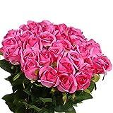 Veryhome Künstliche Rosen aus Seide, für die Vase, 10 Stück, künstliche Rosen für Hochzeits-Dekoration, Geburtstag, Garten, Grabschmuck (10er Pack, rot) Pack of 10,rose Red