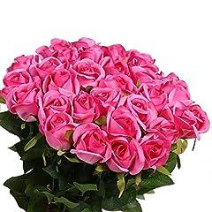 Idea Regalo - Veryhome 10 Pezzi Fiori Artificiali Rose di Seta Falso Bouquet da Sposa da Sposa per la casa Giardino Partito Decorazioni Floreali Rosa Rossa -2