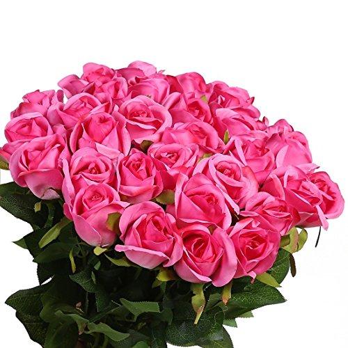 Veryhome 10 Stücke Künstliche Rosen Silk Blumen Gefälschte Flowers Braut Hochzeit Bouquet Für Hausgarten Geburtstag Party Home Wedding Dekor (Rose Rot-2) (Pink Silk Rosen)