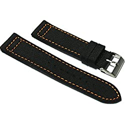 CUSTOM Hadley-Roma 20mm Black Cordura Fabric Watch Strap with Orange Stitch.