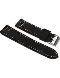 62854b50108 CUSTOM Hadley-Roma 20mm Black Cordura Fabric Watch Strap with Orange Stitch.