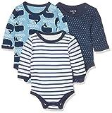 Care Baby - Jungen Langarm-Body im 3er Pack, Mehrfarbig (Deep Skye Blue 720), 0 - 3 Monate (Herstellergröße: 50 )