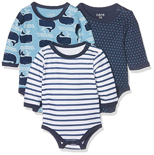 Brands 4 Kids A/S Care Baby - Jungen Langarm Body 3er und 6er Pack, Mehrfarbig (Deep Skye Blue 720), 0 - 3 Monate (Herstellergröße: 50 )