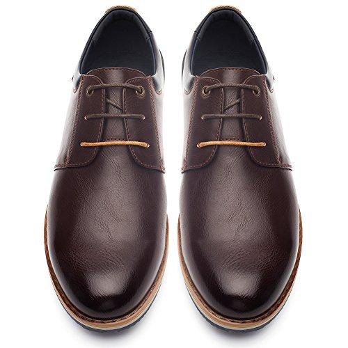 Zapatos Oxford Cómodos Casual para Hombre - Zapatos de Cordones, Adecuado para El Trabajo y el Uso Diario, Zapatos Derby Cuero de Imitación, Conveniente para Todas Las Estaciones SS001-BROWN-42