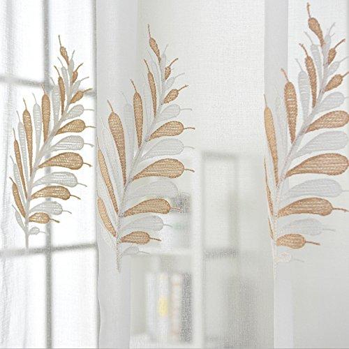 alität Gaze Polyester Weiß Blau Stickerei Zum Fenster Vorhänge Fertiges Produkt Tülle Oben EIN Panel 200cmx270cm (80x108 Zoll),White-1pc(200 * 270cm) ()