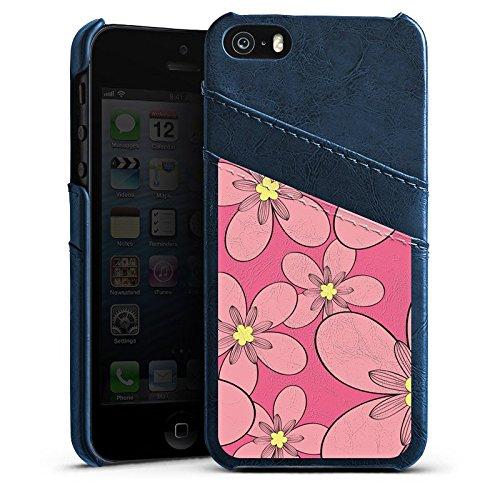 Apple iPhone 4 Housse Étui Silicone Coque Protection Fleur Motif Motif Étui en cuir bleu marine