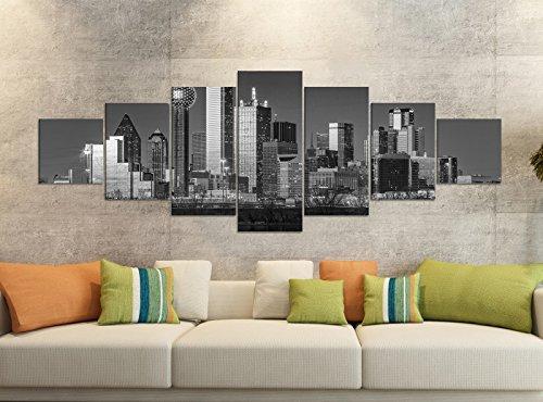 Leinwandbilder 7 Tlg 280x100cm schwarz Dallas Skyline USA Stadt Trinity River Leinwand Bild Teile teilig Kunstdruck Druck Wandbild mehrteilig 9YB2495, Leinwandbild 7 Tlg:ca. 280cmx100cm