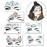Face Gems, COMPATH Crystal Body Glitter Face Stickers Festival Makeup Jewels Temporary Tattoo Glitter Rhinestone Adhesive for Face Eyes Body Forehead Decorations - 6 Pcs