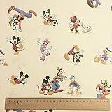 lizenziert von Disney–Creme Play out basierend auf die Mickey Mouse Neuheit Print Premium Grade 100% Baumwolle feines Gewebe Kinder Vorhang Betten Stoff 142cm breit, Meterware,