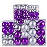 120 Stück Weihnachtskugeln Christbaumkugeln Baumschmuck Weihnachtsdeko aus Kunststoff Ø3-7cm in Silber/Violett