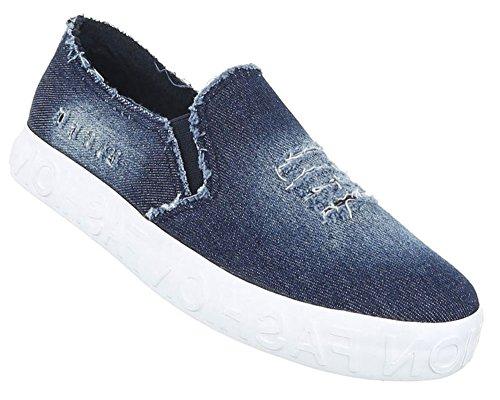 Damen Halbschuhe Schuhe Slipper Loafer Mokassins Flats Slip On Blau Schwarz 36 37 38 39 40 41 Blau