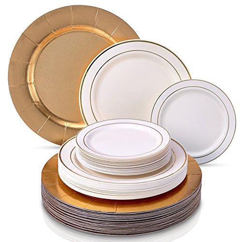 VAJILLA DESECHABLE DE 60 PIEZAS MODERNA Y ELEGANTE | Platos de plástico resistente | 20 bandejas | 20 platos grandes | 20 platos para ensalada | Para bodas y comidas de lujo (Glare - Marfil/Oro)