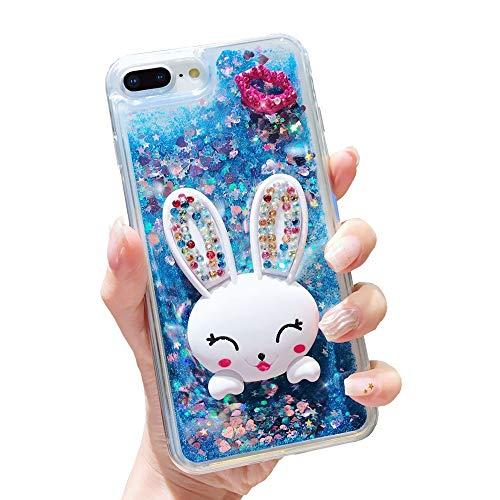 Glitzer Flüssig Hülle für iPhone X Blau, Misstars Transparent Weich TPU Silikon Bling Diamant Lippen und Bunny Design Kratzfest mit Stand Function Schutzhülle für Apple iPhone X/XS/10 (5,8