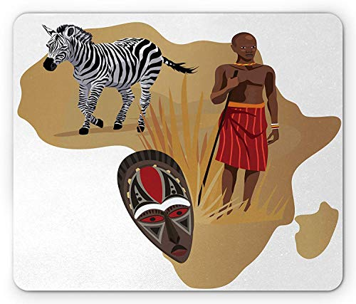 Safari Mouse Pad, Africa Map and Tribal Ethnic Cultural Symbols with a Native Local Man Art Work Print, Standard Size Rectangle Non-Slip Rubber Mousepad, Multicolor