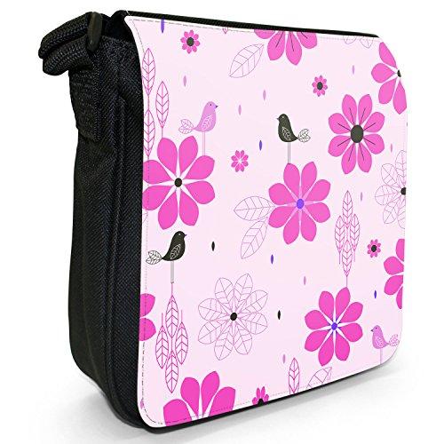 Stile moderno con fiori e uccelli, colore: nero, Borsa a tracolla in tela, taglia: S Nero (rosa)