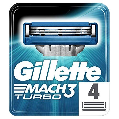 Gillette Mach3 Turbo Razor Blades, 4 Refills