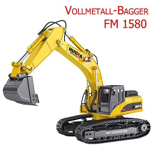 FM1580 | Ferngesteuerter Vollmetall Die Cast Kettenbagger mit voller Funktion, Bagger mit Fernsteuerung, ferngesteuert mit Akku und Ladegerät Huina 1580
