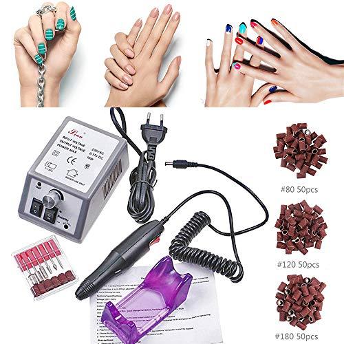 Manucure éléctrique Manucure Machine Ongles Electrique Kit Machine à Poncer Ponceuse Électrique pédicure avec 6 embouts...