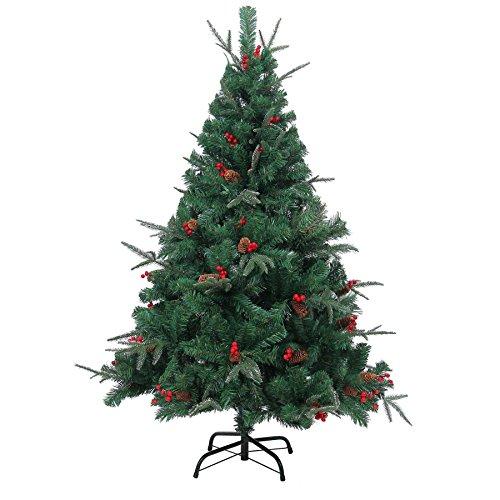 Shatchi 6068-CHRISTMAS-TREE-4FT - Árbol de Navidad artificial (120 cm, 1,2 m), diseño de conos de pino y bayas, color verde