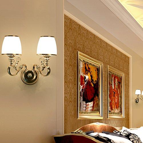 BESPD Europa S Kim Jane minimalistischen modernen Crystal Wandleuchte für Wohnzimmer Restaurant Flur Treppe Schlafzimmer Bett Lampen 8812 Dual Head mit LED-Lampen Crystal Kerzenhalter Wandleuchte