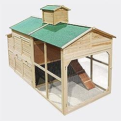 Gallinero blanco con zona exterior, madera, estilo Cottage, Enclos para gallinas con área de juegos.