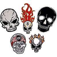 Schwarz Sticker Skelett 0084 Acht Flicken Skull Totenkopf Badges Aufn/äher zum aufb/ügeln B/ügelbild W/ürfel Live Free Patches Applikation i-Patch Iron-on Aufb/ügler